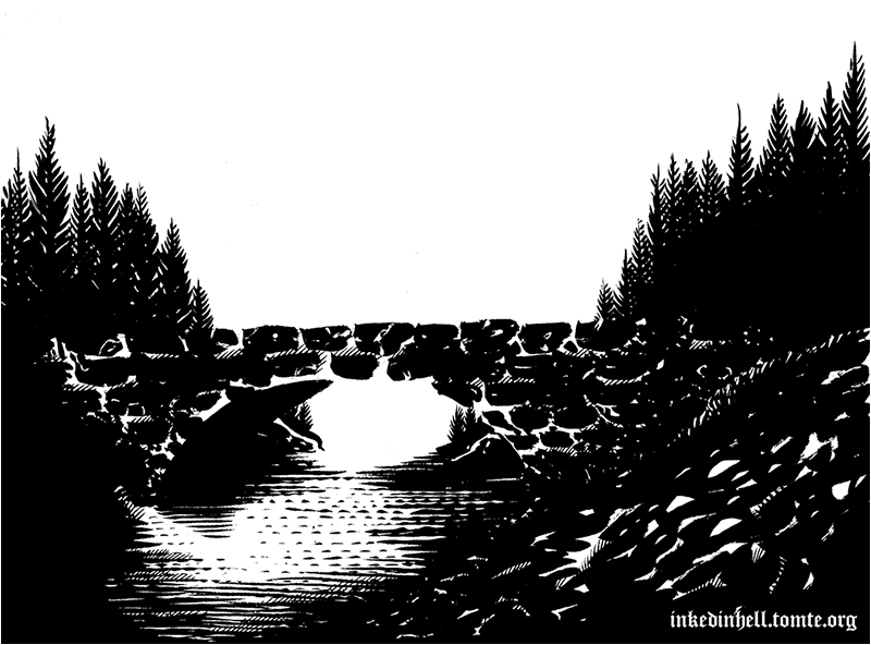 Old brick bridge drawing
